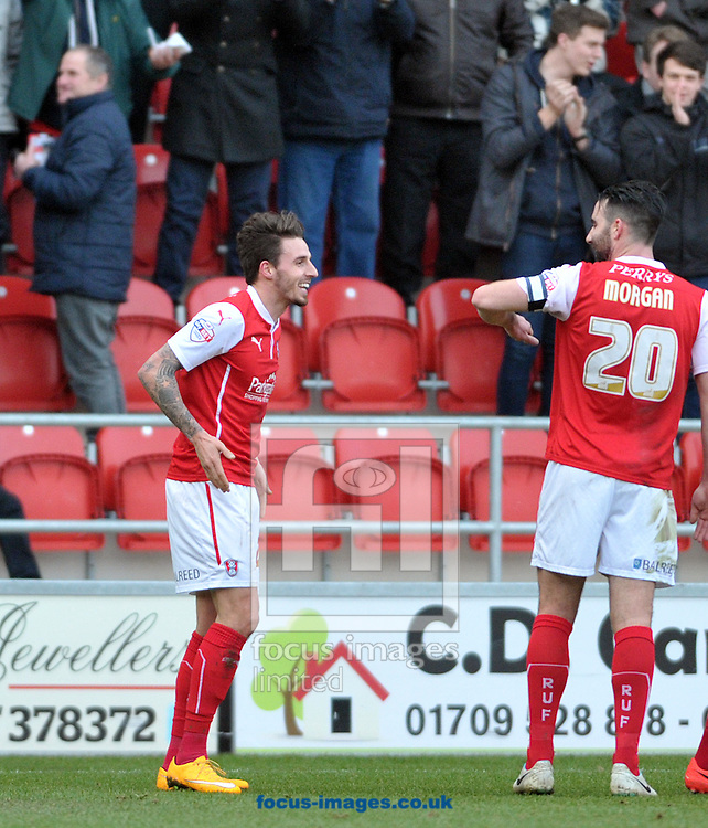 Matt Derbyshire of Rotherham United celebrates his goal against Ipswich Town during the Sky Bet Championship match at the New York Stadium, Rotherham<br /> Picture by Graham Crowther/Focus Images Ltd +44 7763 140036<br /> 07/02/2015