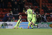 Jayden Stockley celebrates a 95th minute winner for Exeter during the EFL Sky Bet League 2 match between Crewe Alexandra and Exeter City at Alexandra Stadium, Crewe, England on 20 February 2018. Picture by Graham Holt.