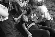Teenage girl experiencing Spiritual Healing, Exodus Free Festival,Luton, 1997.