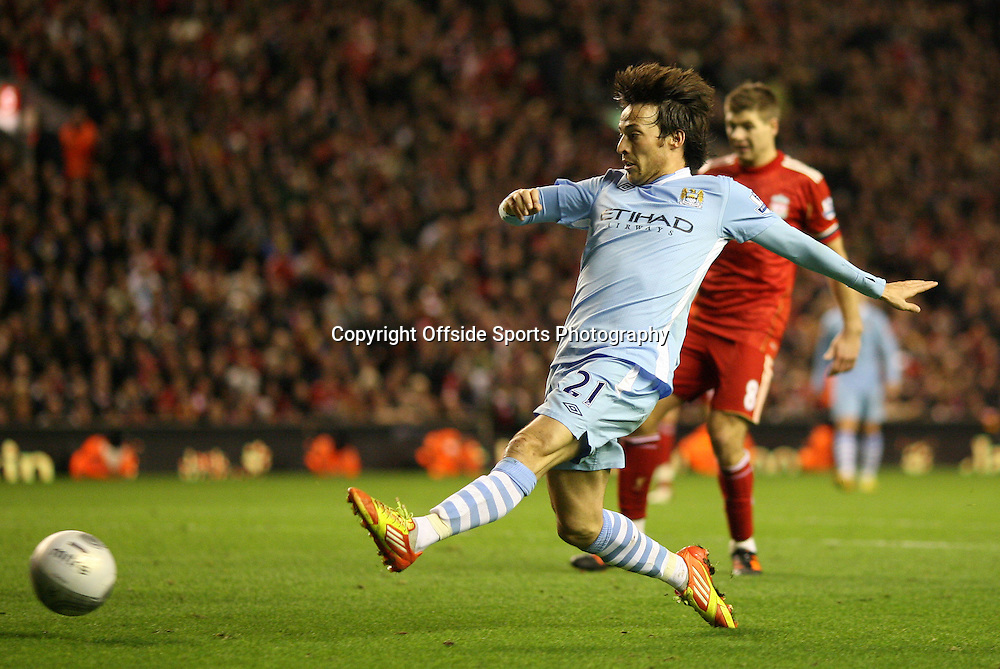 25/01/2012 - Carling Cup Semi-Final (1st Leg) - Liverpool vs. Manchester City - David Silva of Man City stretches for the ball - Photo: Simon Stacpoole / Offside.