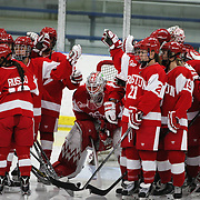 Boston University players in a huddle before the start of the UConn Vs Boston University, Women's Ice Hockey game at Mark Edward Freitas Ice Forum, Storrs, Connecticut, USA. 5th December 2015. Photo Tim Clayton