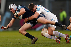 Exeter Chiefs' Marcus Street (right) tackles Sale Sharks' Curtis Langdon during the Gallagher Premiership match at the AJ Bell Stadium, Salford.