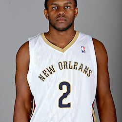 Sep 30, 2013; Metairie, LA, USA; New Orleans Pelicans small forward Darius Miller (2) poses for a portrait at Pelicans Practice Facility. Mandatory Credit: Derick E. Hingle-USA TODAY Sports