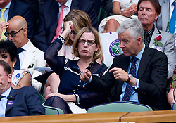 LONDON, ENGLAND - Thursday, July 12, 2018: Politician Amber Rudd (Conservative) in the Royal Box during the Ladies' Singles Semi-Final match on day ten of the Wimbledon Lawn Tennis Championships at the All England Lawn Tennis and Croquet Club. (Pic by Kirsten Holst/Propaganda)
