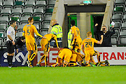 Cambridge celebrate Luke Berry's winning goal during the Sky Bet League 2 match between Plymouth Argyle and Cambridge United at Home Park, Plymouth, England on 12 December 2015. Photo by Graham Hunt.