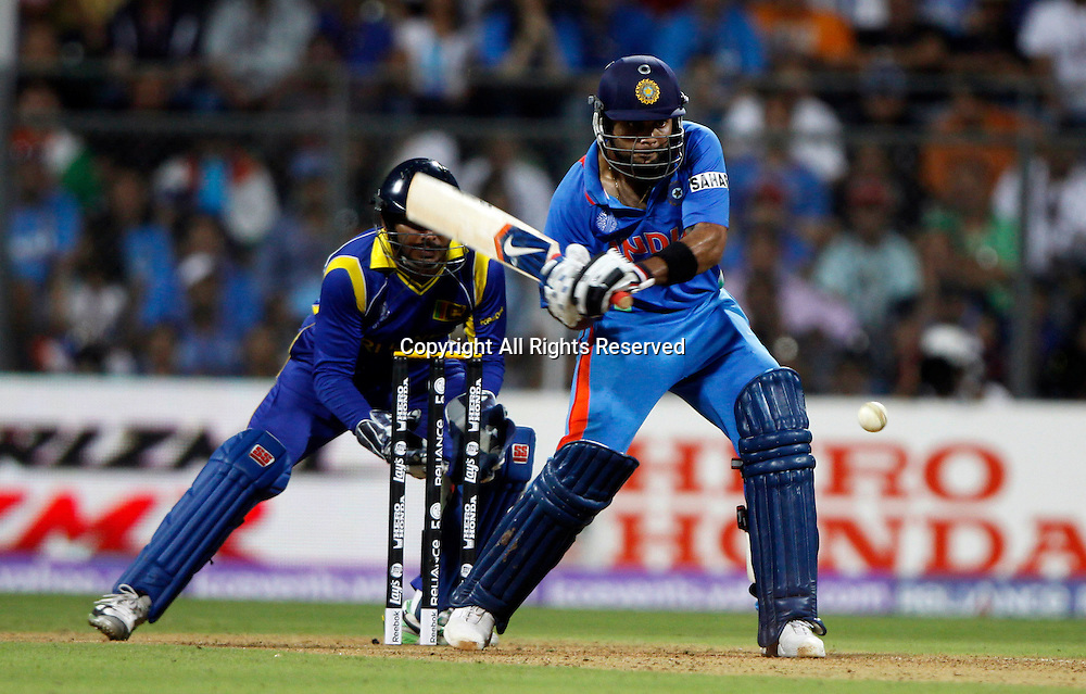 02.04.2011 Cricket World Cup Final from the Wankhede Stadium in Mumbai. Sri Lanka v India.Virat Kohli of India plays a shot during the final match of the ICC Cricket World Cup between India and Sri Lanka on the 2nd April 2011