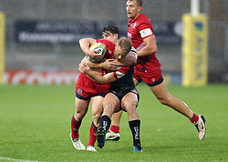Reiss Cullen of Bristol United is tackled by Tom Hendrickson of Exeter Braves  - Mandatory by-line: Gary Day/JMP - 09/09/2017 - RUGBY - Sandy Park Stadium - Exeter, England - Exeter Braves v Bristol United - Aviva A League