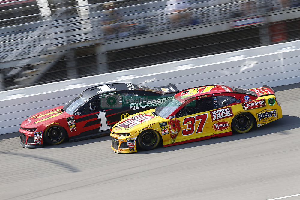 August 12, 2018 - Brooklyn, Michigan, United States of America - Jamie McMurray (1) and Chris Buescher (37) battle for position during the Consumers Energy 400 at Michigan International Speedway in Brooklyn, Michigan. (Credit Image: © Chris Owens Asp Inc/ASP via ZUMA Wire)