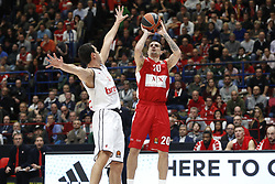 November 17, 2017 - Milan, Milan, Italy - Andrea Cinciarini (#20 AX Armani Exchange Milan) shoots a layup during a game of Turkish Airlines EuroLeague basketball between  AX Armani Exchange Milan vs Brose Bamberg at Mediolanum Forum, on November 17, 2017 in Milan, Italy. (Credit Image: © Roberto Finizio/NurPhoto via ZUMA Press)