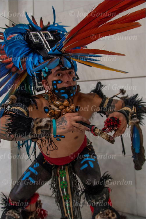 Portrait of dancer in Danza Mexikah, the image  taken after ceremonial dance on the Day of the Dead on the rotunda in the National Museum of the American Indians.<br />