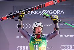 March 9, 2019 - Kranjska Gora, Kranjska Gora, Slovenia - Rasmus Windingstad of Norway on podiumcelebrating his second place at the Audi FIS Ski World Cup Vitranc on March 8, 2019 in Kranjska Gora, Slovenia. (Credit Image: © Rok Rakun/Pacific Press via ZUMA Wire)