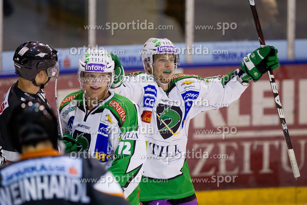 Ales Music (HDD Tilia Olimpija, #16) celebrate goal during of ice-hockey match between Moser Medical Graz 99ers and HDD Tilia Olimpija in 11th Round of EBEL league, on October 14, 2011 at Eisstadion Graz-Liebenau, Graz, Austria. (Photo By Matic Klansek Velej / Sportida)