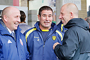 Burton Albion manager Nigel Clough chatting with Accrington Stanley Manager John Coleman and Accrington Stanley Assistant Manager Jimmy Bell  during the EFL Sky Bet League 1 match between Accrington Stanley and Burton Albion at the Fraser Eagle Stadium, Accrington, England on 8 September 2018.