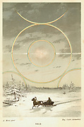 Mock Sun with sunbows and halo, observed from the Arctic Circle.  This phenomenon is caused by atmospheric refraction. From 'The Atmosphere', Camille Flammarion, (London, 1873). Chromolithograph.