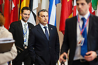 Viktor Orban, Prime minister of Hungary, leaving the  EU Budget summit at the European Council building for a break in Brussels, Friday, Feb. 8, 2013. A European Union summit to decide EU spending for the next seven years entered a second day after all-night negotiations left a standoff over spending unresolved. The leaders of the 27 nations inched toward a compromise Friday that would leave their common budget with a real-term cut for the first time in the EU's history.