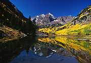 Autumn Scenic of Maroon Bells,  Aspen Trees and Lake near Aspen, Colorado.