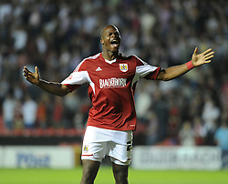 Bristol City's Marlon Harewood celebrates after the game.  - Photo mandatory by-line: Alex James/JMP - Tel: Mobile: 07966 386802 04/09/2013 - SPORT - FOOTBALL -  Ashton Gate - Bristol - Bristol City V Bristol Rovers - Johnstone Paint Trophy - First Round - Bristol Derby