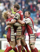 Twickenham, ENGLAND, Peter Richards left, James Forrester and Adam Eustace, celebrate at the end of the game, winning the, European Challenge Cup, Gloucester Rugby vs London Irish, at the Twickenham Stoop, 21.05.2006. © Peter Spurrier/Intersport-images.com,  / Mobile +44 [0] 7973 819 551 / email images@intersport-images.com.   [Mandatory Credit, Peter Spurier/ Intersport Images].