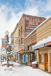 """Downtown Truckee 27"" - Photograph of historic Downtown Truckee, California. Shot in the morning after a big snow storm."