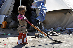 SANAA, Oct. 29, 2016 (Xinhua) -- A displaced girl looks on at an internally displaced camp at Amran province, north Sanaa, Yemen on Oct. 29, 2016. According to UN, 14.1 million people in Yemen are food insecure, of whom 7.6 million are one step from famine due to the civil war and Saudi-led bombing campaign. (Xinhua/Mohammed Mohammed) (Credit Image: © Mohammed Mohammed/Xinhua via ZUMA Wire)
