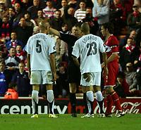 Photo: Jed Wee.<br /> Middlesbrough v FC Basle. UEFA Cup. Quarter-Final. 06/04/2006.<br /> <br /> Referee Louri Baskakov gives Basle's Daniel Majstorovic his marching orders.