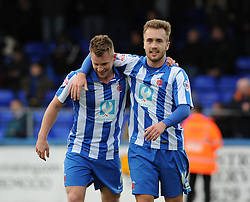 Hartlepool United's Jonathan Franks celebrates his goal with Hartlepool United's Jordan Richards - Photo mandatory by-line: Dougie Allward/JMP - Mobile: 07966 386802 15/03/2014 - SPORT - FOOTBALL - Hartlepool - Victoria Park - Hartlepool United v Bristol Rovers - Sky Bet League Two