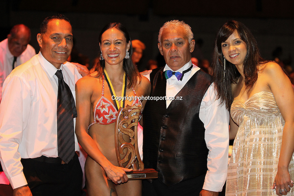 301113 2013  Teneka Hyndman with the guests at the Trillian Trust Maori Sports Awards at Vodafone Events Centre, Manukau. Photo: Fiona Goodall/photosport.co.nz