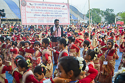 April 11, 2018 - Guwahati, Assam, India - Children participated in Bihu Dance workshop ahead of  Rongali Bihu festival. (Credit Image: © David Talukdar/Pacific Press via ZUMA Wire)