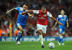 28.09.2011, Emirates Stadium, London, ENG, UEFA CL, Gruppe F, FC Arsenal (ENG) vs Olympiakos Piräus (GRE), im Bild Arsenal's Alex Oxlade-Chamberlain in action against Olympiacos // during the UEFA Champions League game, group F, ENG, UEFA CL, FC Arsenal (ENG) vs Olympiakos Piräus (GRE) at Emirates Stadium in London, United Kingdom on 2011/09/28. EXPA Pictures © 2011, PhotoCredit: EXPA/ Propaganda Photo/ Chris Brunskill +++++ ATTENTION - OUT OF ENGLAND/GBR+++++