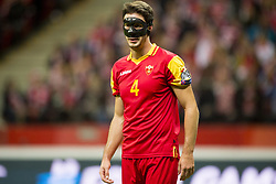 October 8, 2017 - Warsaw, Poland - Nikola Vukcevic of Montenegro with the safety mask during the FIFA World Cup 2018 Qualifying Round Group E match between Poland and Montenegro at National Stadium in Warsaw, Poland on October 8, 2017  (Credit Image: © Andrew Surma/NurPhoto via ZUMA Press)