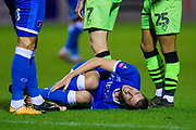 Canice Carroll (#4) of Carlisle United FC lies injured during the The FA Cup match between Carlisle United and Forest Green Rovers at Brunton Park, Carlisle, England on 10 December 2019.