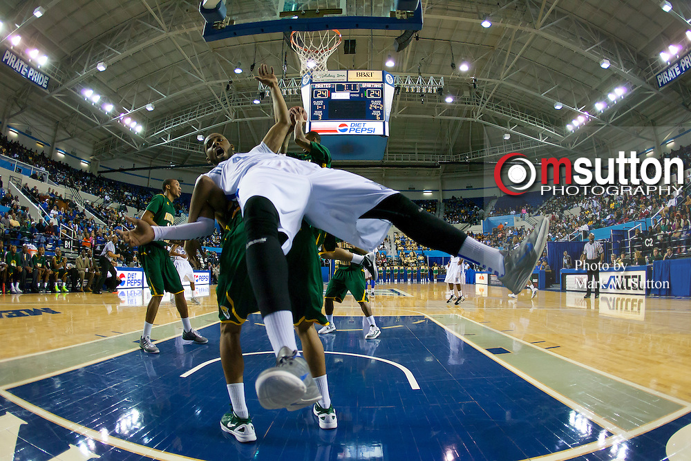 during the Norfolk State - Hampton 2012 MEAC men's basketball game at the Hampton Convocation Center in Hampton, Virginia.  January 21, 2012  Norfolk State won 80-75.  (Photo by Mark W. Sutton)