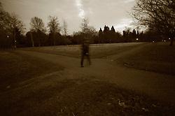 UK ENGLAND LONDON 20DEC11 - A pedestrian at a crossroads in Hyde Park, central London.....jre/Photo by Jiri Rezac....© Jiri Rezac 2011