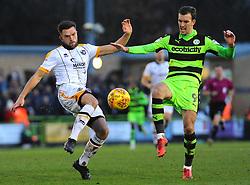 Joe Davis of Port Vale battles with Christian Doidge of Forest Green Rovers- Mandatory by-line: Nizaam Jones/JMP- 06/01/2018 - FOOTBALL - New Lawn Stadium- Nailsworth, England- Forest Green Rovers v Port Vale - Sky Bet League Two