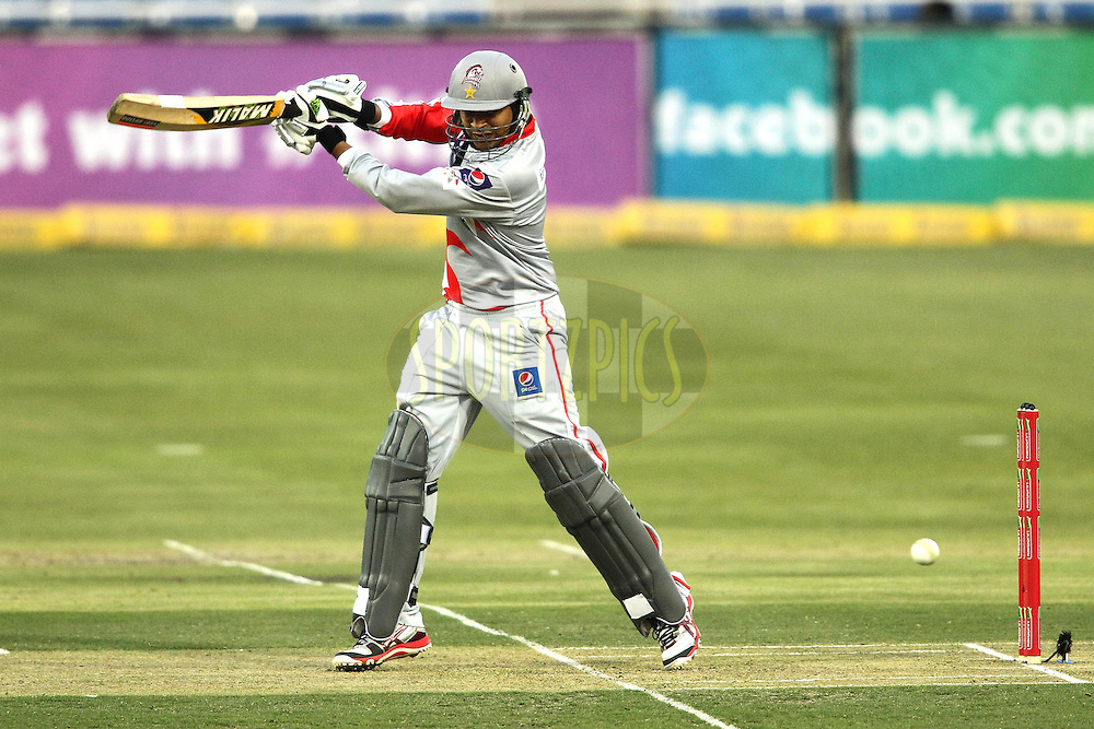 Haris Sohail of Sialkot Stallions plays a delivery square during 2nd Qualifying match of the Karbonn Smart CLT20 South Africa between Auckland Aces and Sialkot Stallions held at The Wanderers Stadium in Johannesburg, South Africa on the 9th October 2012..Photo by Shaun Roy/SPORTZPICS/CLT20