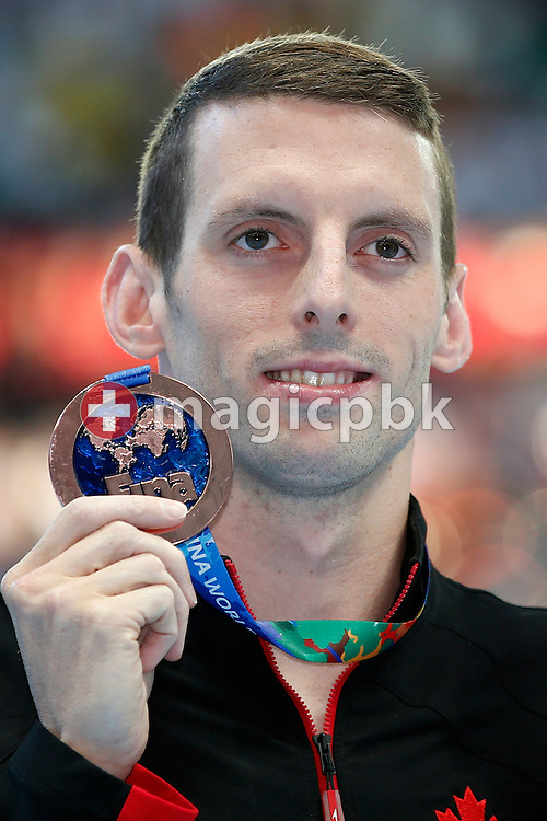 Ryan Cochrane of Canada poses with his Silver medal after finishing third in the men's 400m Freestyle Final during the 16th FINA World Swimming Championships held at the Kazan arena in Kazan, Russia, Sunday, Aug. 2, 2015. (Photo by Patrick B. Kraemer / MAGICPBK)