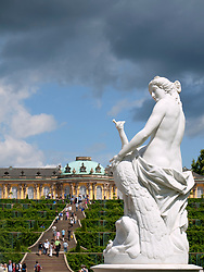 Gardens at SansSouci park and palace in Potsdam Germany