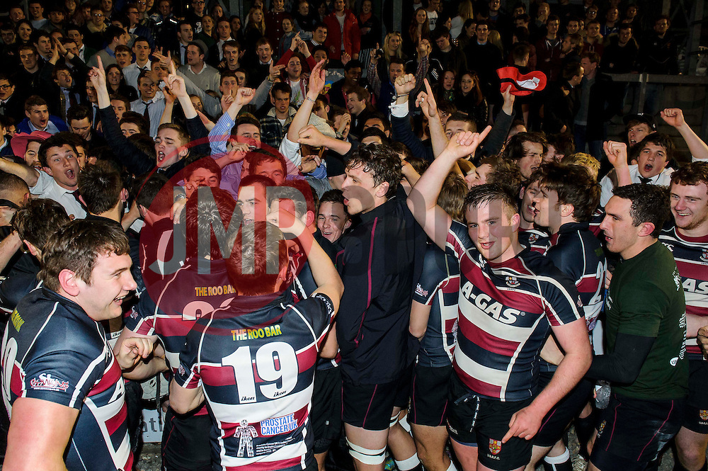 The winning Bristol side celebrate with their club mates in the stands after the match finishes Bristol 28-12 UWE - Photo mandatory by-line: Rogan Thomson/JMP - Tel: Mobile: 07966 386802 - 29/04/2013 - SPORT - RUGBY - Memorial Stadium - Bristol. University of Bristol v University of the West of England - 2013 edition of the annual Rugby Union University Varsity match in Bristol.