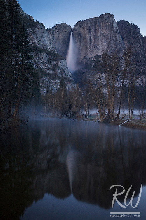Yosemite Falls Spring Morning Reflection in Merced River, Yosemite National Park, California