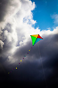 Flying a kite on Fermoyle Beach, on the Dingle Peninsula, Ireland,