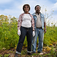 Margaret and Rodney, two new farmers at FarmStart's McVean Incubator Farm, standing in among their dill and beet plants.