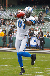 Dec 18, 2011; Oakland, CA, USA; Detroit Lions wide receiver Calvin Johnson (81) warms up before the game against the Oakland Raiders at O.co Coliseum. Detroit defeated Oakland 28-27. Mandatory Credit: Jason O. Watson-US PRESSWIRE