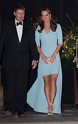 LONDON- UK- 21-OCT-2014: The Duchess of Cambridge, Patron of The Natural History Museum, attends the Wildlife Photographer of The Year 2014 Awards Ceremony. Her Royal Highness met the finalists, viewed the exhibition and joined Sir David Attenborough to present awards to the overall winners of the adult and under-18s competitions.<br /> Photograph by Ian Jones