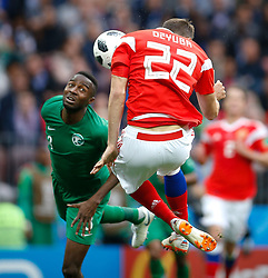 June 14, 2018 - Moscow, Russia - Russia's ARTEM DZYUBA scores his side's third goal in action against HAWSAWI OSAMA of Saudi Arabia during the group A match between Russia and Saudi Arabia at the Luzhniki stadium. (Credit Image: © Marcelo Machado De Melo/Fotoarena via ZUMA Press)