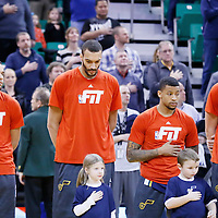 25 January 2016: Utah Jazz center Rudy Gobert (27) stands during the National Anthem prior to the Detroit Pistons 95-92 victory over the Utah Jazz, at the Vivint Smart Home Arena, Salt Lake City, Utah, USA.