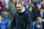 Sheffield Wednesday head coach Carlos Carvalhal  is angry at the disallowed goal during the Sky Bet Championship play-off first leg match between Sheffield Wednesday and Brighton and Hove Albion at Hillsborough, Sheffield, England on 13 May 2016. Photo by Simon Davies.