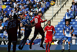 January 20, 2018 - Barcelona, Spain - Ever Banega and Gerard Moreno during the La Liga match between RCD Espanyol and Sevilla FC played in the RCDEstadium, in Barcelona, on January 20, 2018. Photo: Joan Valls/Urbanandsport/Nurphoto  (Credit Image: © Joan Valls/NurPhoto via ZUMA Press)