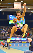 Emiliano Lasa (URU) places third in the long jump at 25-1¾ (7.66m) in the 34th Indoor Meeting Karlsruhen in an IAAF World Tour competition at the Messe Karlsruhe on Saturday, Feb. 3, 2018 in Karlsruhe, Germany. (Jiro Mochizuki/Image of Sport)