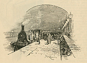 Passengers leaving the 'Flying Scotsman' at King's Cross railway station, London, after their journey from Edinburgh. Engraving, 1891.