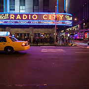 September 26, 2012 - New York, NY : Swedish dance music DJ, remixer, and record producer, Avicii, performs at Radio City Music Hall in Manhattan on Wednesday evening. Pictured here, Avicii is featured on the Radio City Music Hall marquee. CREDIT: Karsten Moran for The New York Times